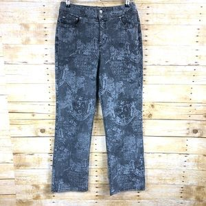 Chicos Black and Gray Print Boot Cut Jeans Sz 1